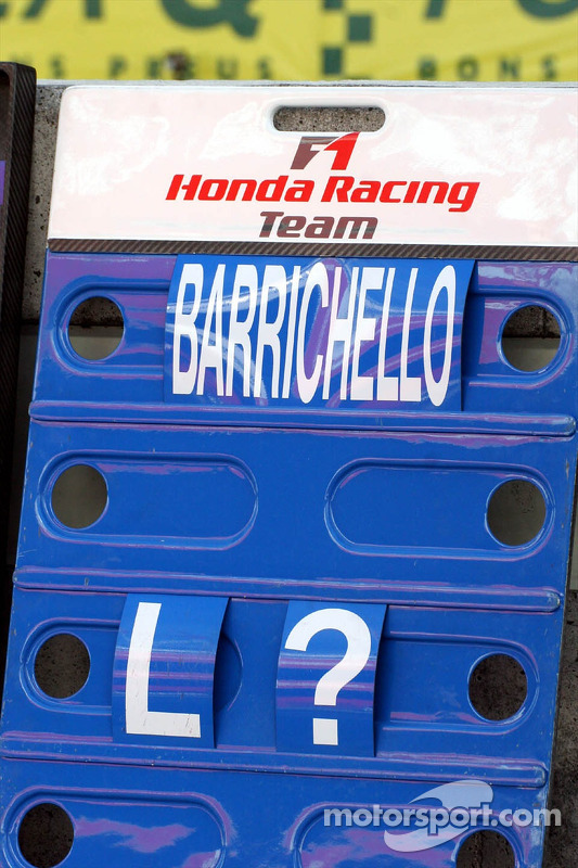 Le panneau de piste de Rubens Barrichello