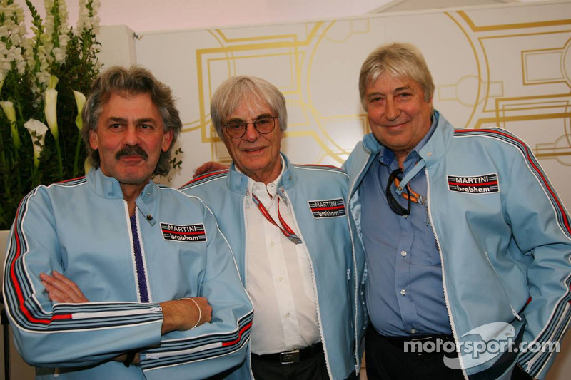 The Ex Brahbam team Gordon Murray, ex Brabham and McLaren Designer with Bernie Ecclestone and Herbie