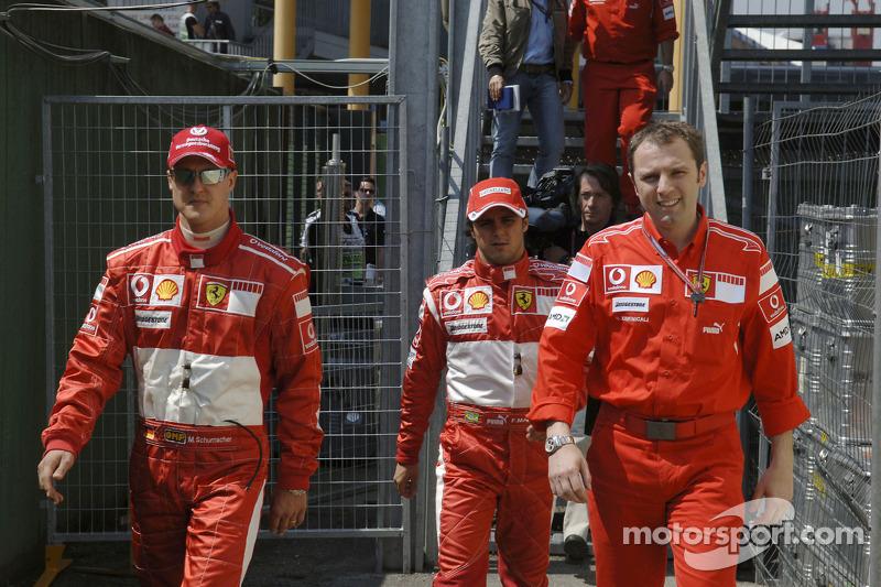 Michael Schumacher, Felipe Massa et Stefano Domenicali