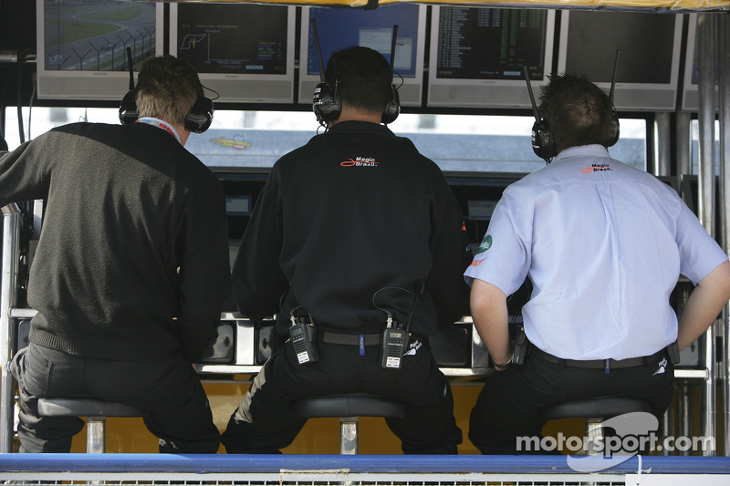 L'équipe Piquet Sports sur le mur des stands