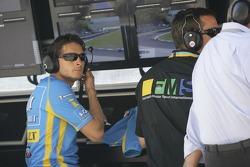 Giancarlo Fisichella watches his team