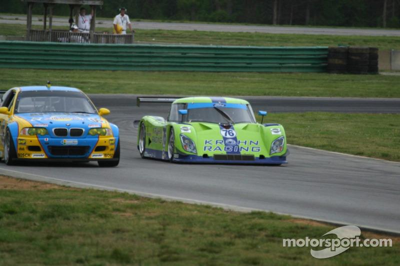 #76 Krohn Racing Ford Riley: Jorg Bergmeister, Colin Braun passes #05 Sigalsport BMW BMW M3: Matthew Alhadeff, Bill Auberlen