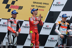 Podium: race winner Marco Melandri with Casey Stoner and Nicky Hayden