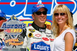 Victory lane: race winner Jimmie Johnson celebrates with his wife Chandra