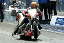 Tommy Grimes took the pole in Top Fuel Harley