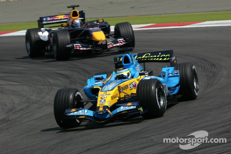 Giancarlo Fisichella devant Christian Klien
