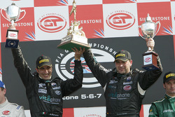 GT1 podium: class and overall winners Andrea Bertolini and Michael Bartels celebrate