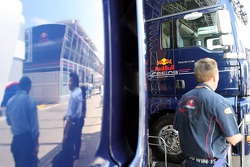 The Red Bull Energy Station, mirrored in a truck