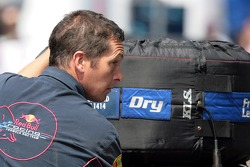A Red Bull Racing member with a Michelin tire