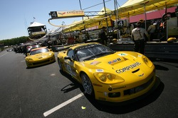 Corvette Racing Corvette C6-R cars about to leave for the starting grid