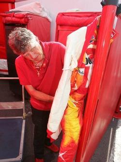 Michael Schumacher overalls are prepared