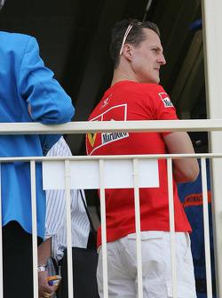 Michael Schumacher attends race stewards meeting regarding his pole position