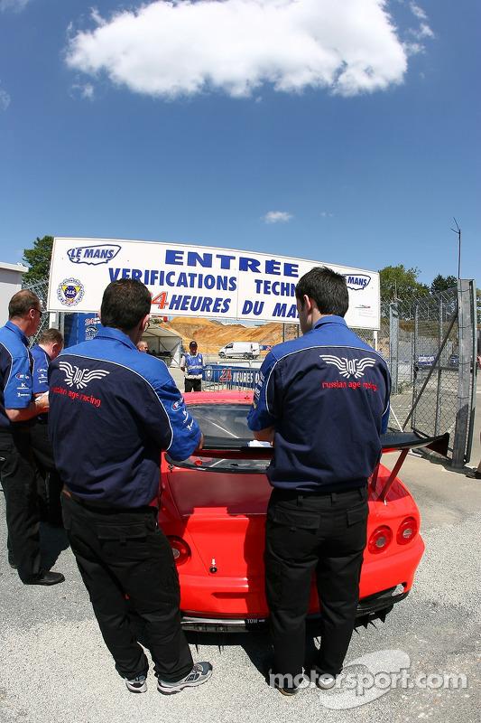 Russian Age Racing Ferrari 550 Maranello enters scrutineering