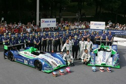 Emmanuel Collard, Erik Comas, Nicolas Minassian,  Éric Hélary, Franck Montagny, Sébastien Loeb, and the Pescarolo Sport Pescarolo Team pose with the Pescarolo Sport Pescarolo C60 Judd