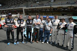 Paul Belmondo Racing drivers pose: Claude-Yves Gosselin, Karim Ojjeh, Adam Sharpe, Didier André, Yann Clairay, Jean-Bernard Bouvet