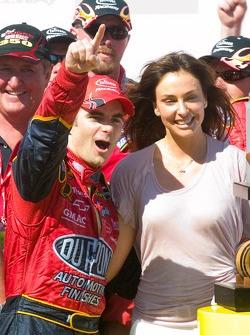 Jeff Gordon celebrates his victory with his fiancé model Ingrid Vanderbosch