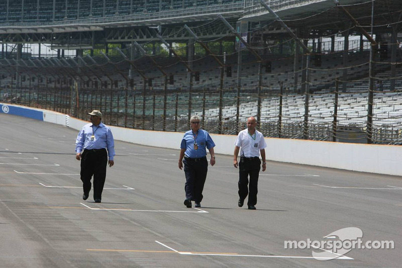 Herbie Blash, FIA observer, inspects the circuit