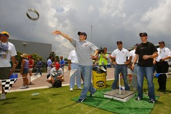 J.J.Yeley throws horseshoes before practice