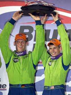 DP podium: class and overall winners Jorg Bergmeister and Colin Braun
