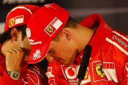 Press conference: pole winner Michael Schumacher with Felipe Massa