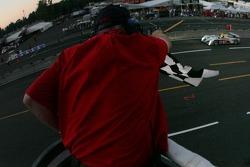 #2 Audi Sport North America Audi R10 TDI Power: Rinaldo Capello, Allan McNish takes the checkered flag