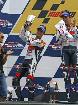 Podium: race winner Nicky Hayden with Dani Pedrosa