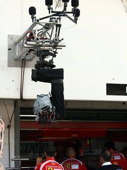 TV Camera in front of Ferrari garage