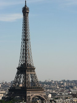 A view from atop the Arc de Triomphe: the Eiffel Tower
