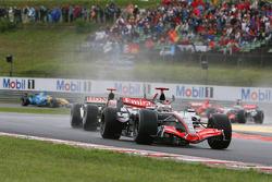 Start: Kimi Raikkonen leads Rubens Barrichello