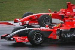 Tiago Monteiro and Michael Schumacher