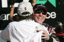 Victory lane: race winner Kevin Harvick celebrates with Richard Childress