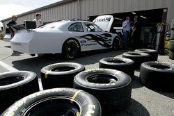 Roush Racing team members work on Matt Kenseth's car