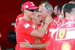 Michael Schumacher and a Ferrari mechanic
