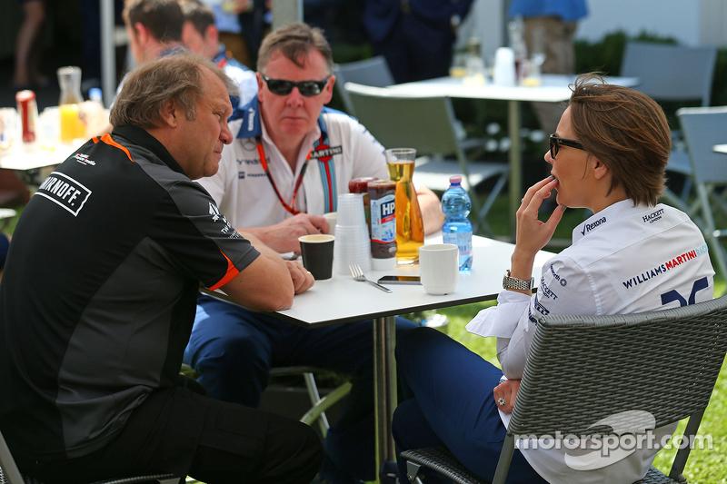 Robert Fernley, Sahara Force India F1 Team Deputy Team Principal, with Claire Williams, Williams Dep