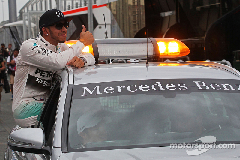 Pole winner Lewis Hamilton, Mercedes AMG F1 in the FIA Medical Car