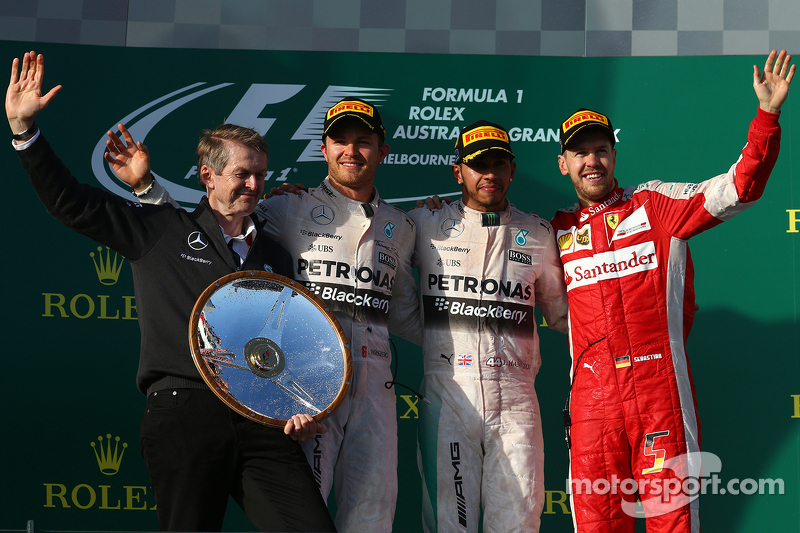 Podium: Second place Nico Rosberg, Mercedes AMG F1, winner Lewis Hamilton, Mercedes AMG F1 and third