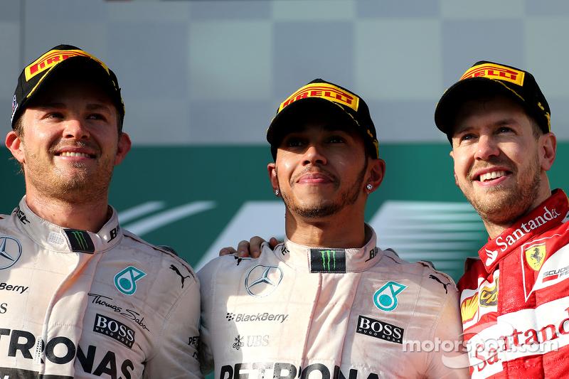 Peringkat kedua Nico Rosberg, Mercedes AMG F1 Team, Race pemenang balapan, Lewis Hamilton, Mercedes