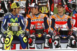 Valentino Rossi, Yamaha Factory Racing; Marc Marquez, Repsol Honda Team, und Dani Pedrosa, Repsol Ho