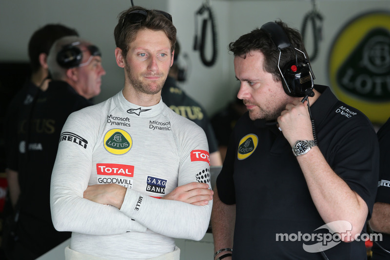 Romain Grosjean, Lotus F1 Team, und Julien Simon-Chautemps, Lotus F1 Team, Renningenieur