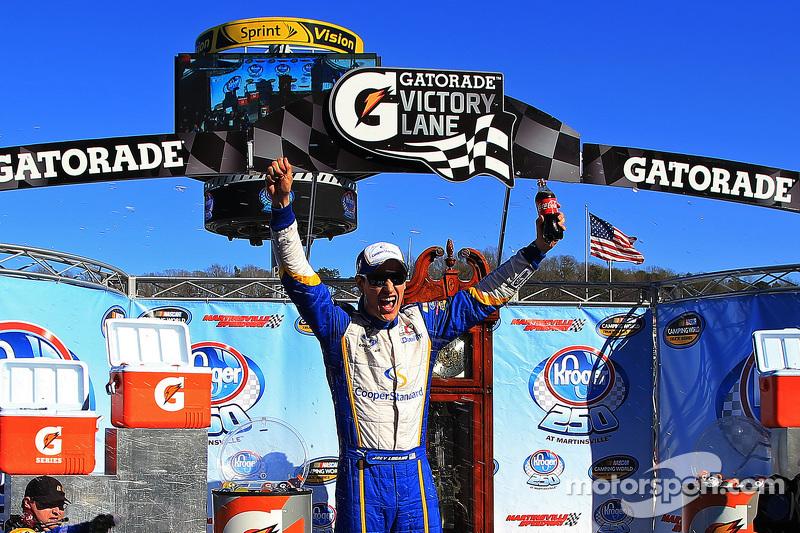 Race winner Joey Logano, Brad Keselowski Racing Ford celebrates