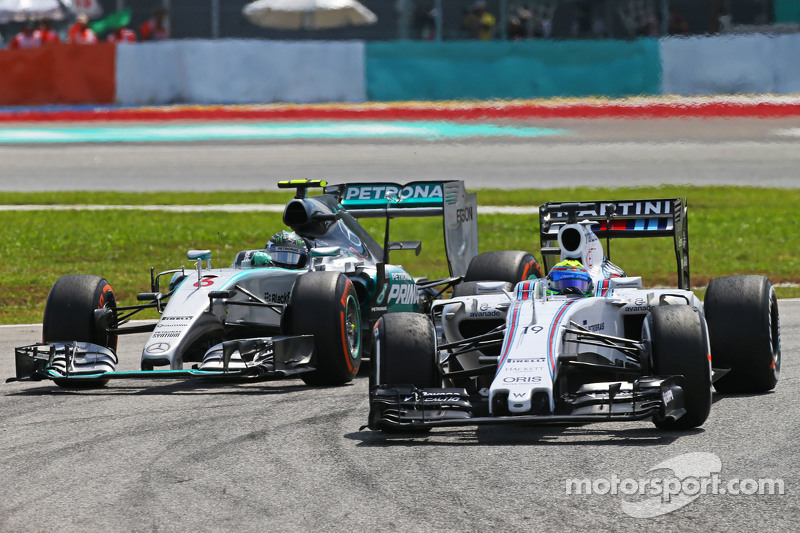 Felipe Massa, Williams FW37, vor Nico Rosberg, Mercedes AMG F1 W06