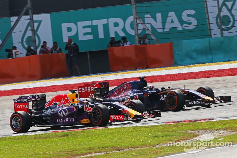 Daniel Ricciardo, Red Bull Racing RB11 en Max Verstappen, Scuderia Toro Rosso STR10