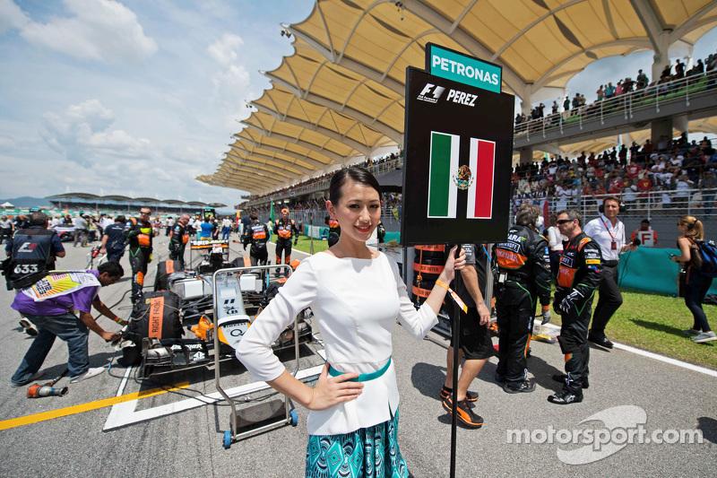 Chica en la parrilla de Sergio Perez, Sahara Force India F1
