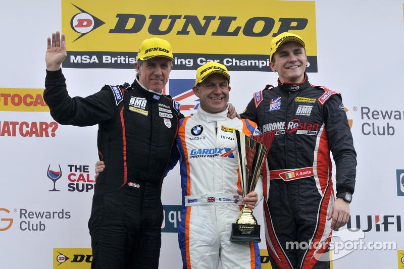 Podium: race winner Rob Collard, second place Aron Smith, third place Jason Plato