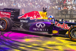 David Coulthard, Red Bull Racing durant le Red Bull Showrun sur la Necklace Road à Hyderabad, en Inde