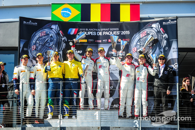 Podium: Second place #77 BMW Sports Trophy Team Brasil BMW Z4: Maxime Martin, Dirk Muller, Race winn