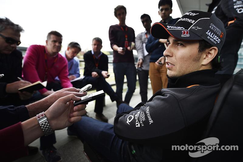 Sergio Perez, Sahara Force India F1 con los medios