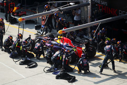 Daniel Ricciardo, Red Bull Racing RB11 faz pit stop