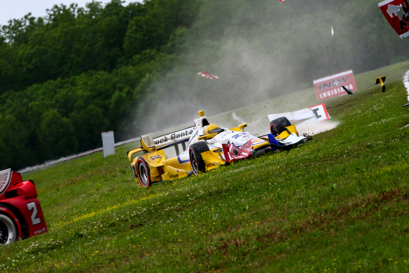Simon Pagenaud, Team Penske, Chevrolet, mit Unfall