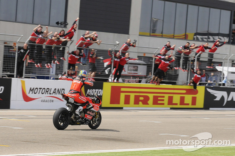 Race winner Chaz Davies, Ducati Team